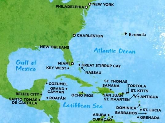 map of caribbean islands and bermuda | There are three main routes to the Caribbean from North America: