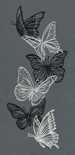 Flight & Dark Butterflies - Vertical Border | Urban Threads: Unique and Awesome Embroidery Designs  This design is lightly stitched and is suitable for all fabrics, including t shirts.