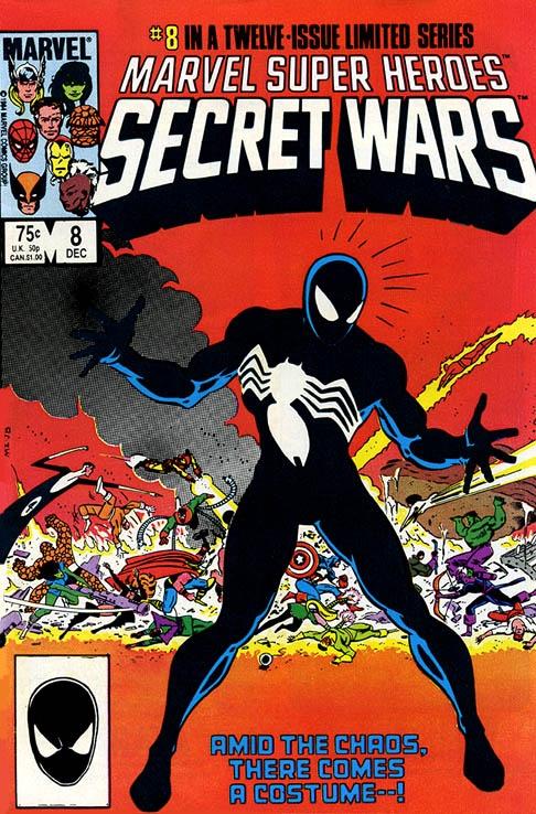 Marvel Super Heroes Secret Wars by Mike Zeck. Spider-Man gets the blackcostume which later becomes Venom