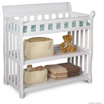 Eclipse Children Nursery White Full Rail 2 Shelves Changing Table contemporary-changing-tables