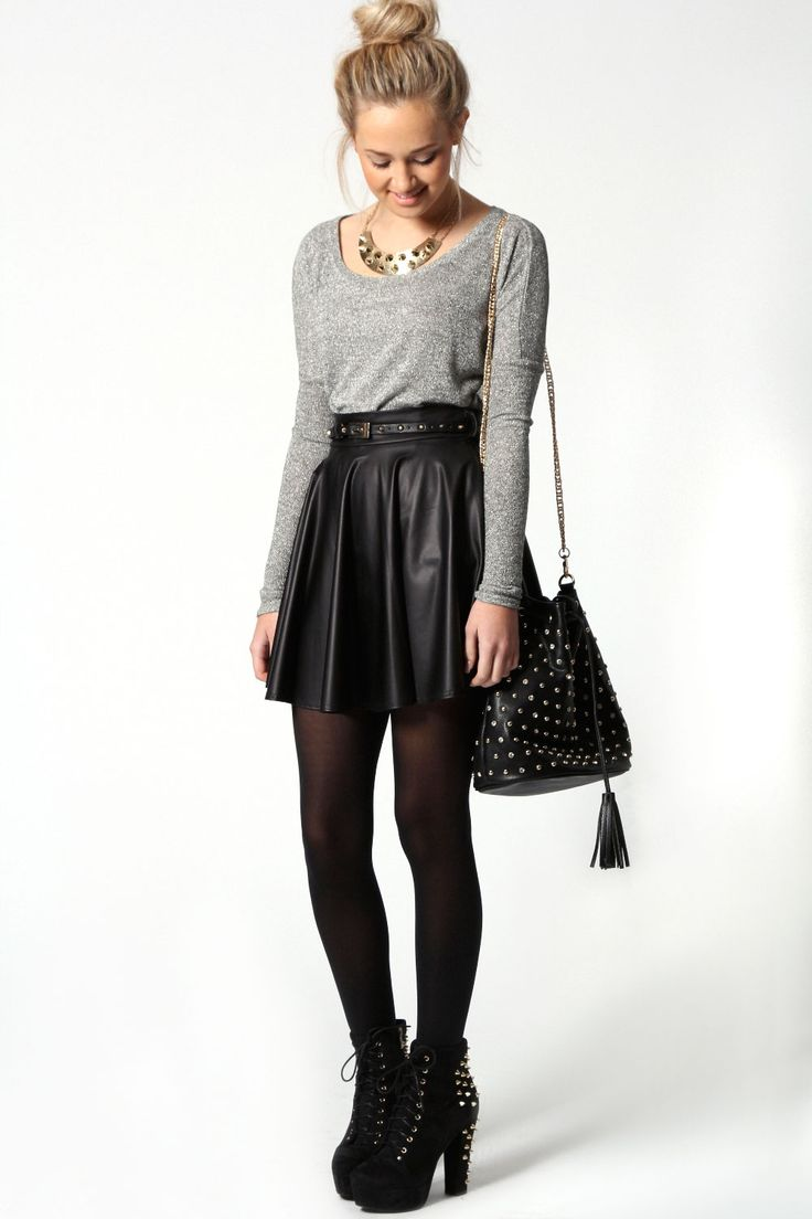 Jules Leather Look Skater Skirt With Belt at boohoo.com ...