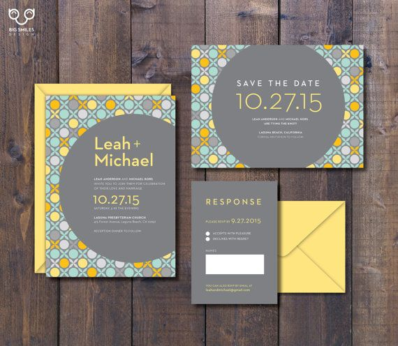 Yellow And Grey Retro Pattern Wedding Invitation / Save The Date / Response  From BigSmilesDesign #