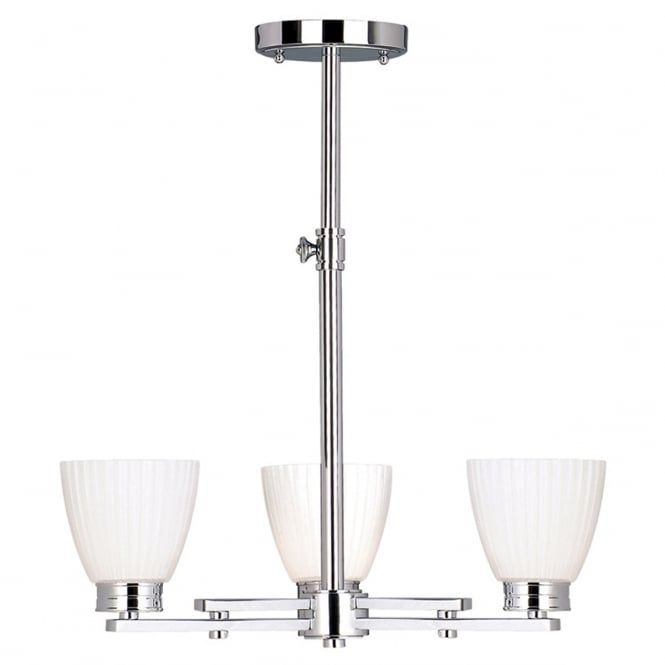 Wallingford Height Adjustable Bathroom Ceiling Light Chrome With Opal White Ribbed Glass Shades