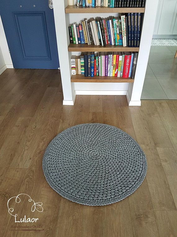 Crochet Round Rug T Shirt Yarn Small Handmade Grey Carpet