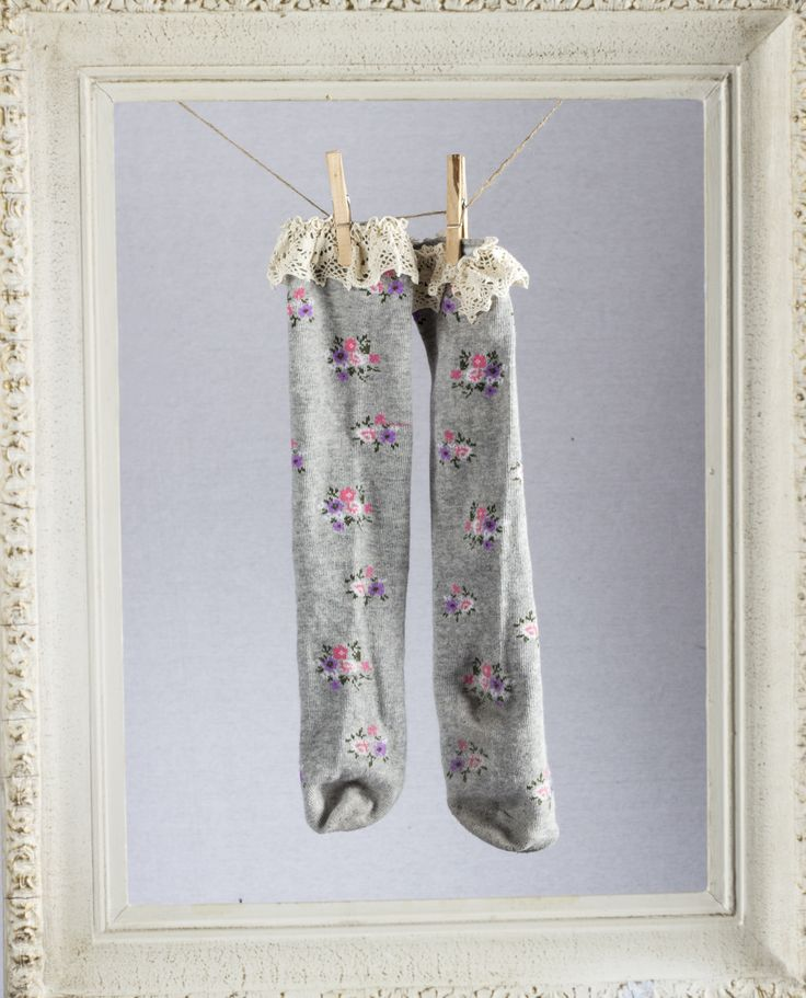 Gray floral socks found at teablossomkids.com