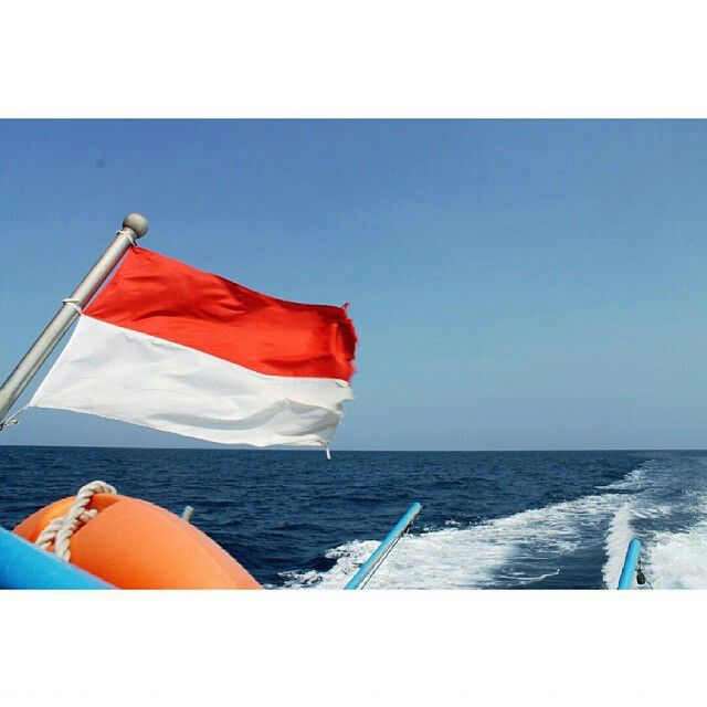 Indonesia flag on boat