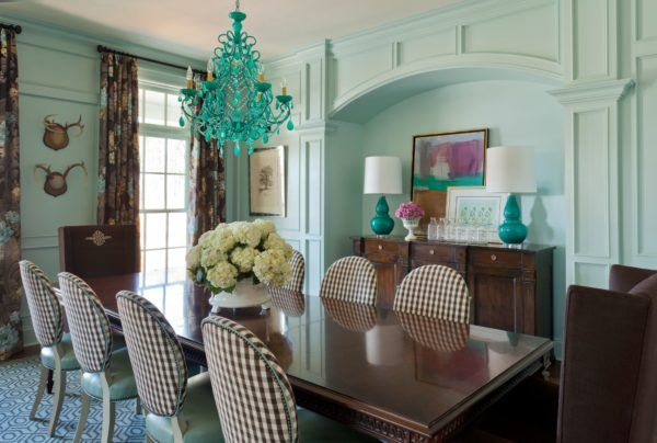 Before and After: Fresh Formal Dining Room | Tobi Fairley: To keep the room from being too stuffy and formal, I drenched the space in a fresh aqua color. I like to tell a color story throughout the house, and this lovely hue is featured in several nearby rooms, so it creates a great feeling of continuity from space to space.