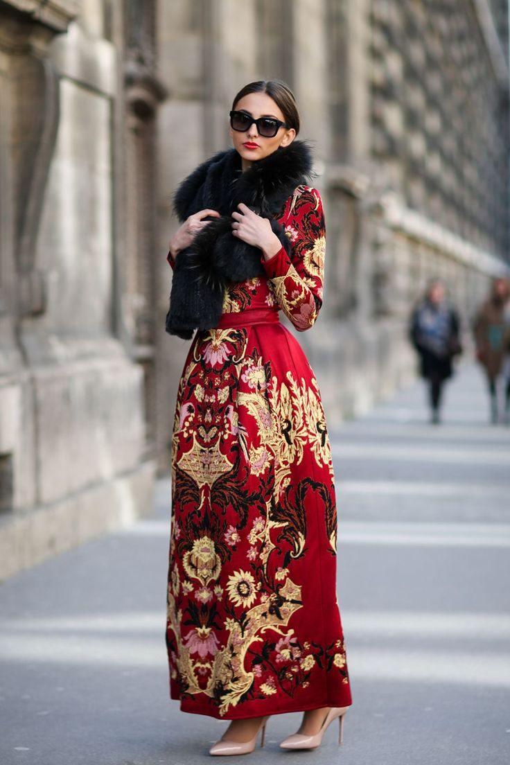 84 Outfit Ideas For Style Extroverts #refinery29 http://www.refinery29.com/2015/03/83675/paris-fashion-week-2015-street-style#slide-24 Why not wear an impressive gown out before noon? It's a sure way to get 'em snapping.