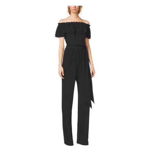 MK Outlet Online & MICHAEL KORS COLLECTION Ruffled Silk-Georgette Jumpsuit BLACK