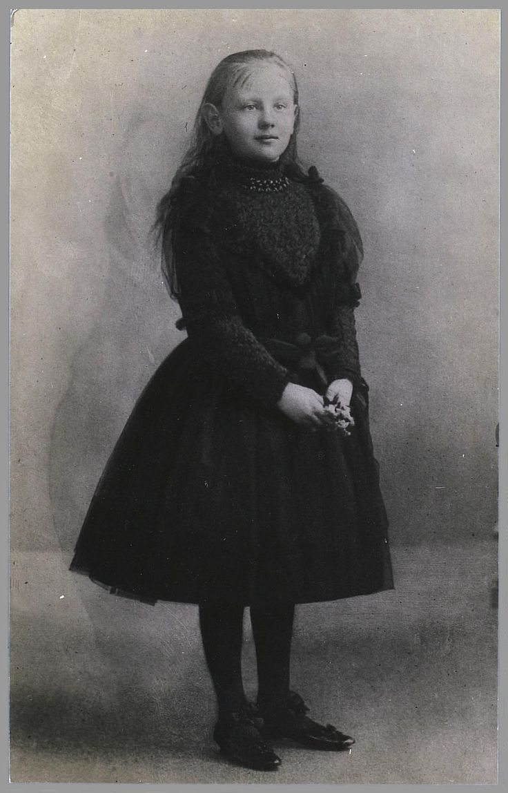 Dutch Princess Wilhelmina in mourning 1891 for her father, King Willem III; photographer Adolphe Zimmermans
