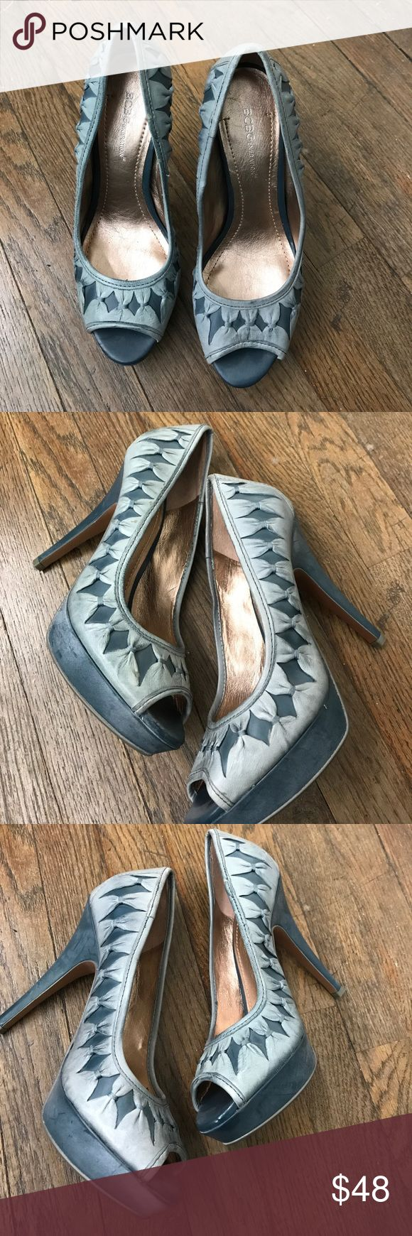 BCBGeneration Leather Peep toe pumps Blue stone washed denim looking leather peep toe pump 3 in denim color BCBGeneration Shoes Heels
