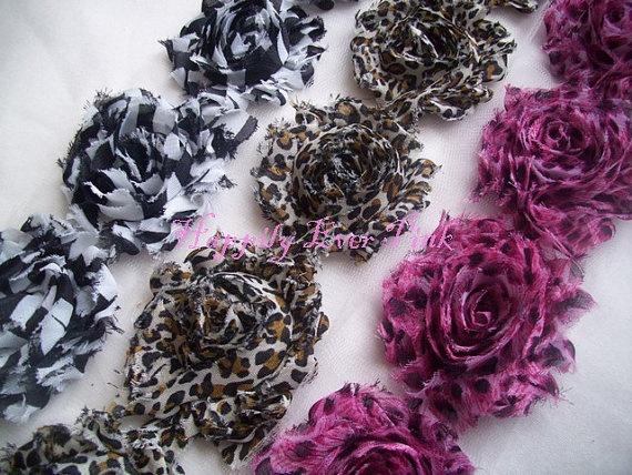 Animal Print Shabby Flower Trim Chiffon by happilyeverpink on Etsy, $11.70