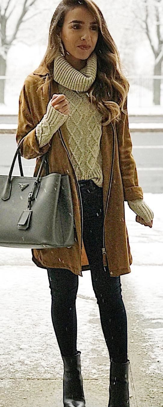 #winter #outfits brown zip-up suede jacket