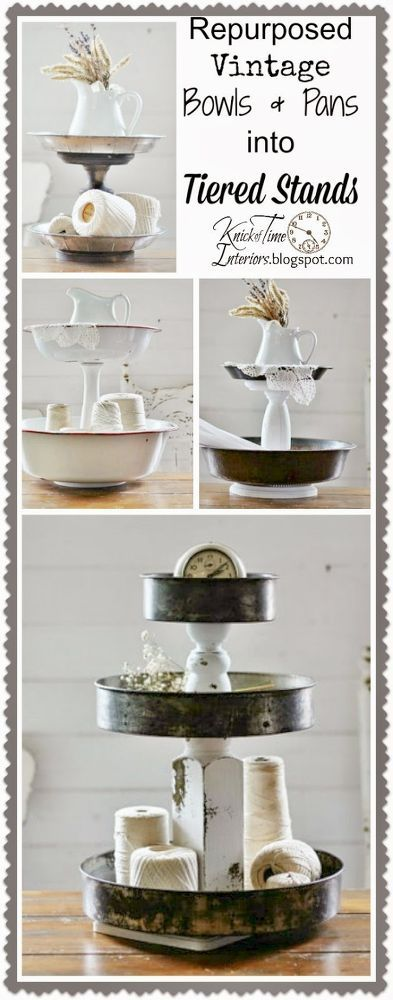 Repurposed Bowls and Tins Into Tiered Stands #ReFab
