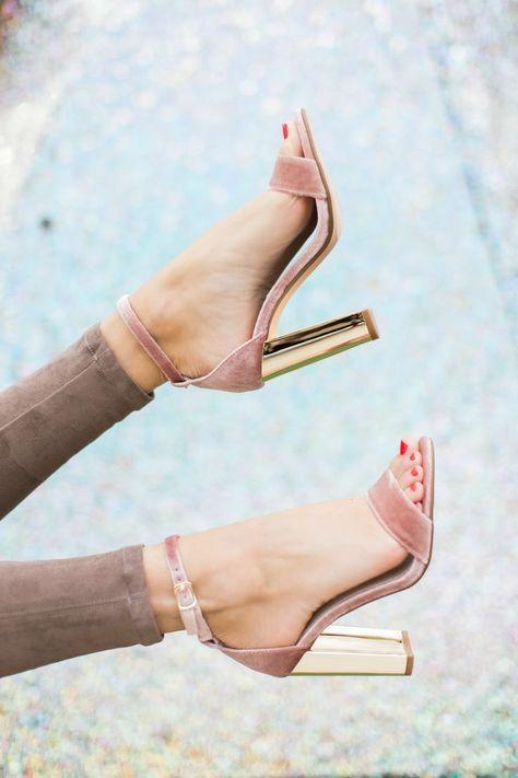 blush pink velvet heels