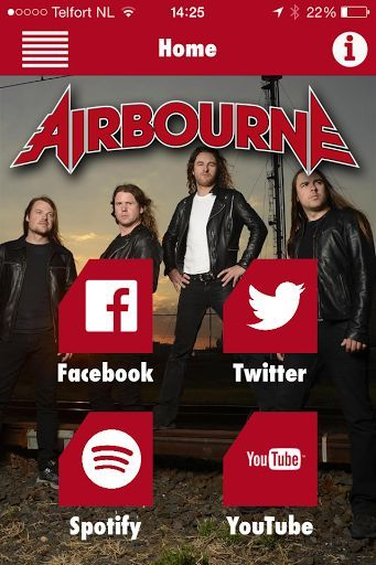 With this mobile Airbourne app, you'll always get the latest news of this Australian band. Watch videos, see the upcoming tour dates, listen to all the tracks, view photos of Airbourne and much more!<p>Stand Up For Rock'N'Roll!<br>\n<br>\n<br>\n<br>\n
