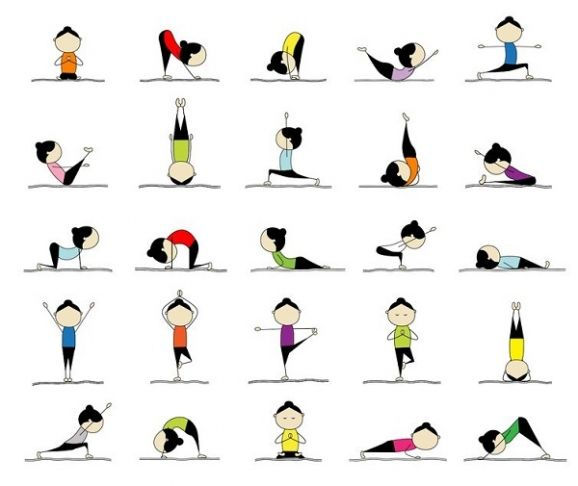 Buy The Royalty Free Stock Vector Image Woman Practicing Yoga 25 Poses For Your Design Online All Rights Included High Resolution File