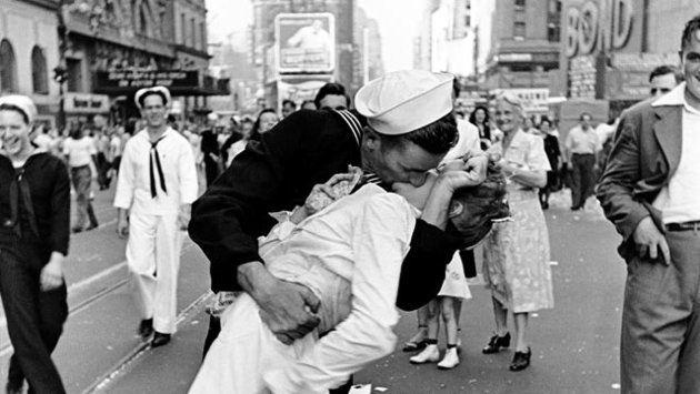 The iconic World War II  Time square kiss!! I think its precious its a navy man and a nurse!!!!