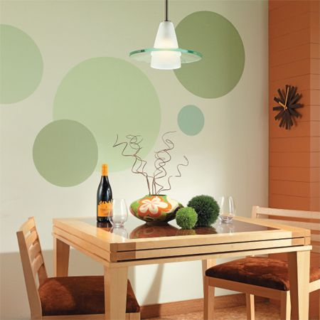 If you are looking for an easy way to add interest to a boring wall these colourful circles are right on spot ! Painted circular designs can easily infuse any room in your home with colour, pattern, and personality. Use Plascon Double Velvet for a satin finish or Plascon Cashmere for an absolute matt finish. If you want a more stand out design, add a coat of Plascon Pearl over the top. http://www.home-dzine.co.za/decorating/decorate-feature.htm#