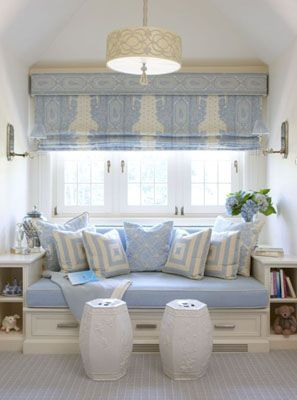 Shade, sconces, drum shade, pillows...Decor, Ideas, Romans Shades, Blue, Windows Seats, Reading Nooks, Window Seats, Windows Treatments, Room