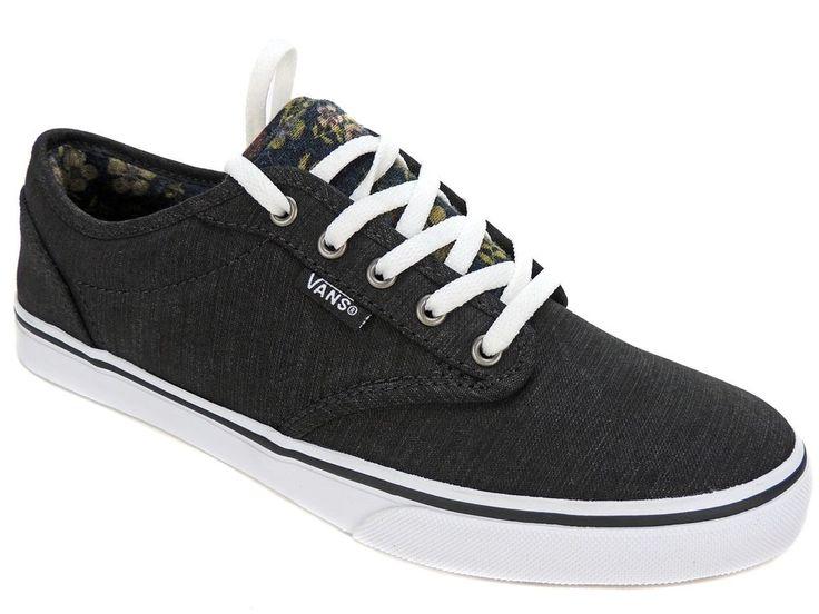 Vans Women's Atwood Low Floral Sneakers Black/White Size 6.5 M #Vans #Skateboarding