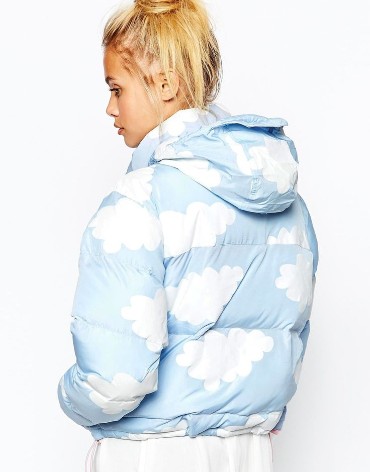 Image 3 ofLazy Oaf Short Padded Jacket With All Over Cloud Print