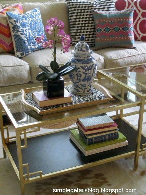 Ikea Hack, Vittsjo Nesting Tables makeover using Ikea Metrik pulls to create Greek Key like corner detail. Simple Details Blog