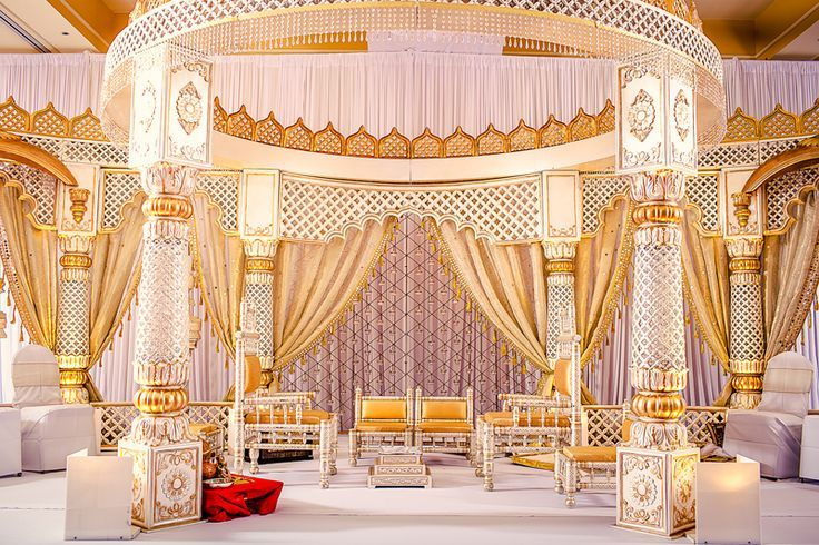 Soma Sengupta Indian Wedding Decorations- White & Gold Mandap!
