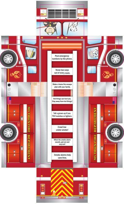 U.S. Fire Administration Free Printable Kids Firetruck Foldup Activity Sheet - Worldwide