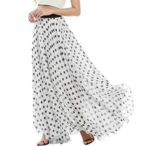 Meaneor Women's Floral Chiffon Maxi Skirt Retro Polka Dot Flowy Long Beach Dress - http://www.darrenblogs.com/2017/03/meaneor-womens-floral-chiffon-maxi-skirt-retro-polka-dot-flowy-long-beach-dress/