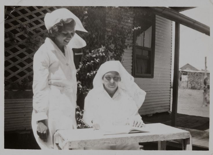 BA1340/ERA3/89C: Sadie Corner (later Canning) visiting her mentor Matron Murray (seated) at Mt Margaret Mission, ca.1953 (Click to Start Zoom)