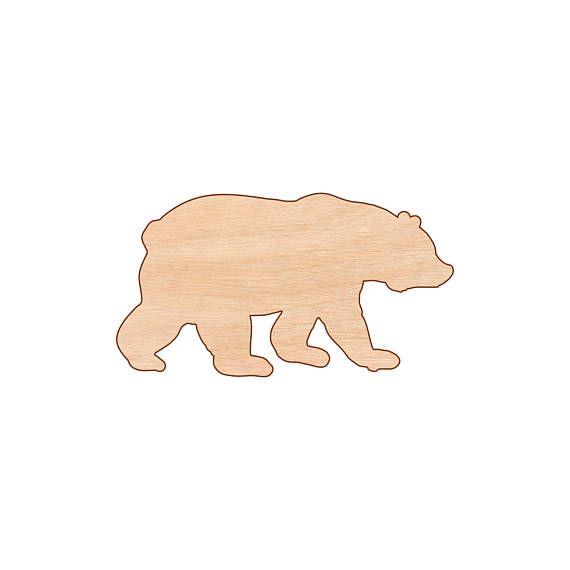 Wild bear Shape Wall Art Laser Cut Unfinished Wood Shapes