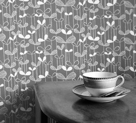 Saplings Cream with Pink Wallpaper - missprint