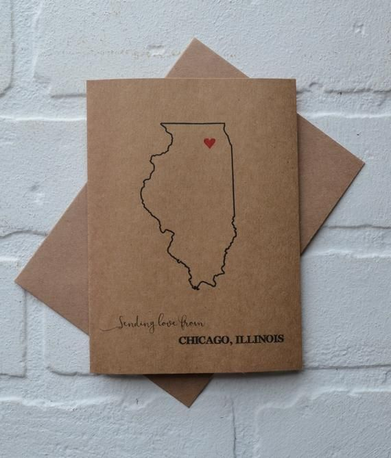 LOVE from CHICAGO ILLINOIS card friendship card illinois state cards lover card just because card sw