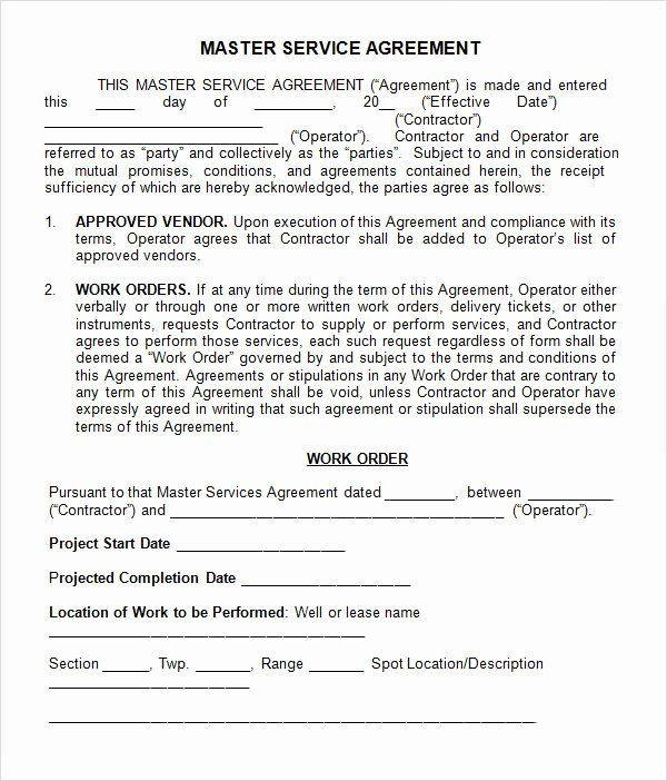 40 Master Service Agreement Template In 2020 Contract Template