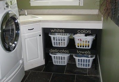 laundry room: Good Ideas, Laundry Shelves, Laundry Rooms, Laundry Area, Rooms Ideas, Laundry Baskets, Rooms Organizations, Brown Paper Packaging, Laundry Organizations