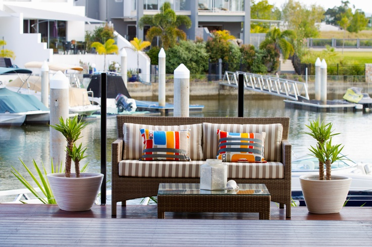 Simple outdoor furniture with a splash of colour