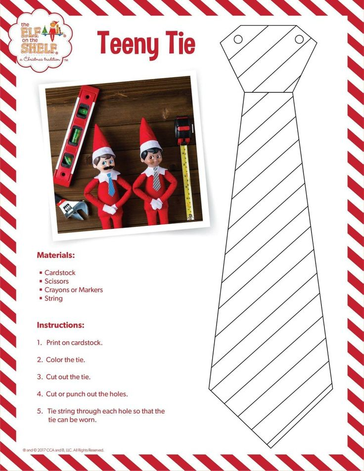 Free Printable Elf on the Shelf Tie