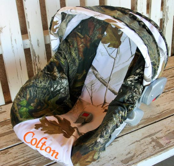 Mossy Oak Camo w/ realtree snow camo Car seat cover and hood cover w/ matching headsupport and strap covers and embroidery