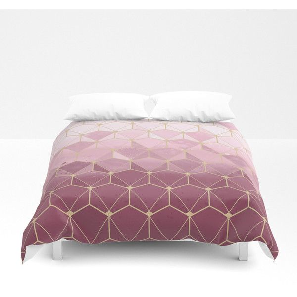 Pink Gold Geometric Pattern Duvet Cover 100 Liked On Polyvore Featuring Home Bed Bath Bedding Duvet Covers Duvet Cover Pattern Gold Bed Rose Gold Bed