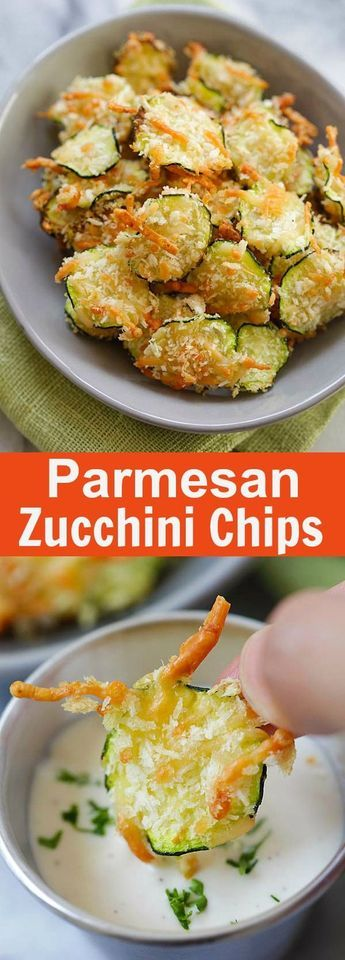 Parmesan Zucchini Chips - crispy zucchini chips coated with Parmesan cheese and bread crumbs. So healthy and low in calories | rasamalaysia.com #ZucchiniChips