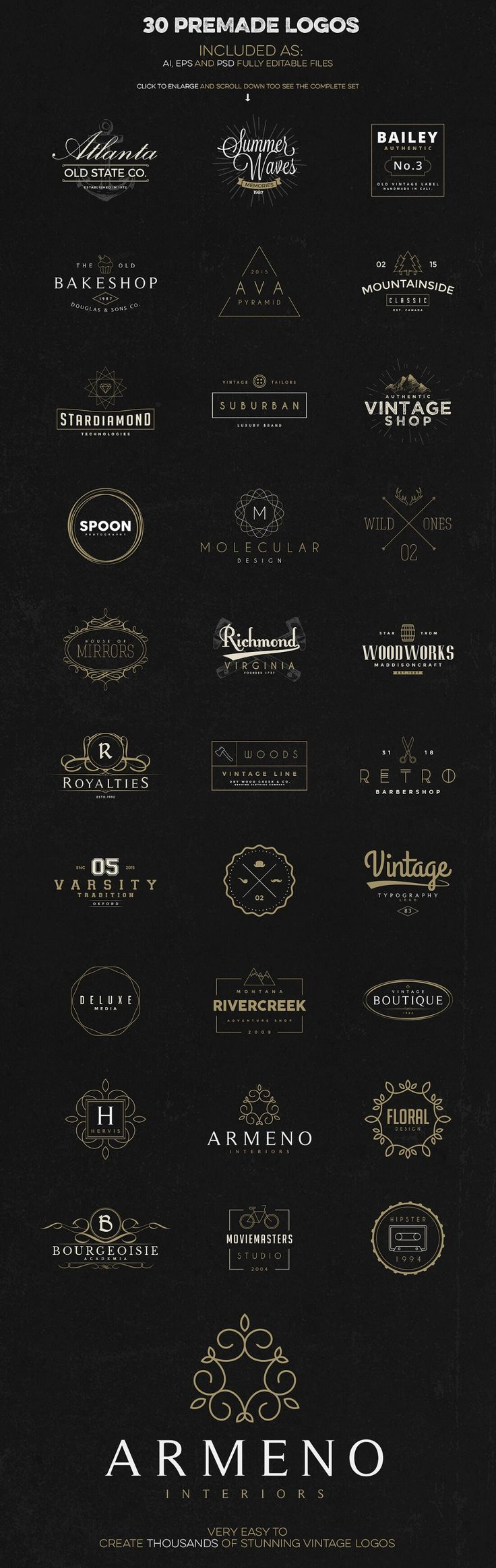Professional Logo Creation Kit Bundle with 500+ Elements - only 14! - MightyDeals