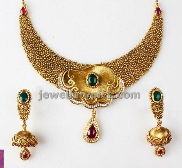 Designer gold necklace design by PNG jewellers - Latest Jewellery Designs