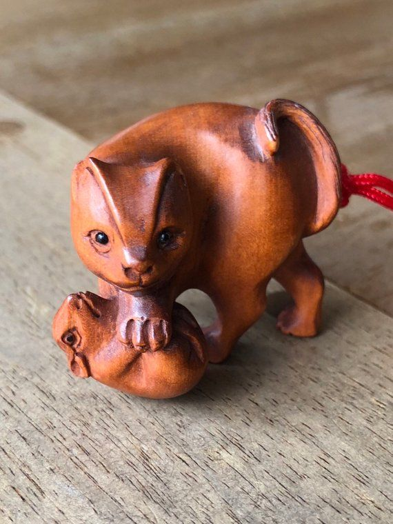 Netsuke netsuke cat carved wood cat carved boxwood cat and rat