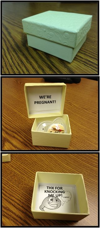 Best way to tell him you're pregnant! With a binki inside! Seriously loving this.. bahaha!
