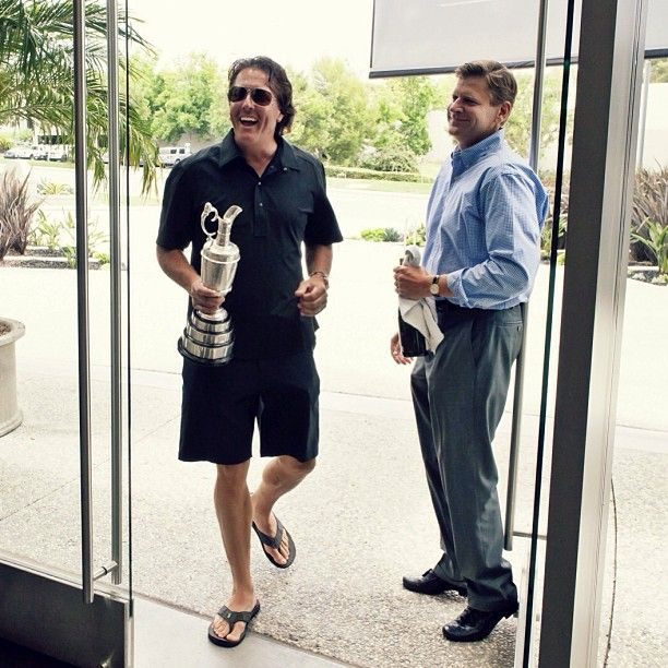 British Open Champion Phil Mickelson visits Callaway HQ with the Claret Jug. #Golf