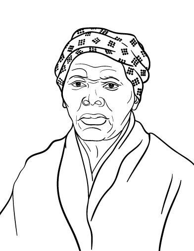 Printable Harriet Tubman coloring page. Free PDF download