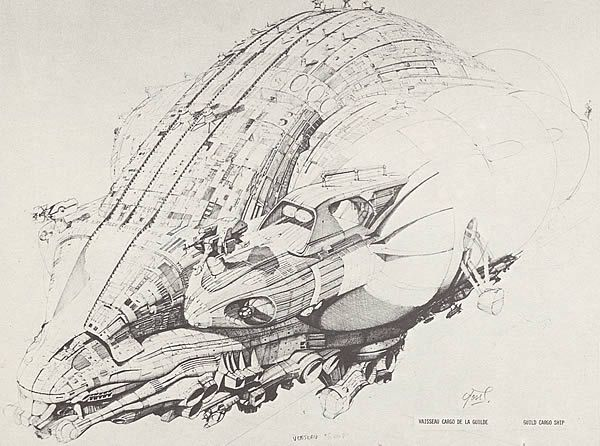 Guild Merchant ship for Dune. Design requirement was for a large gross menacing ship (Foss ?)