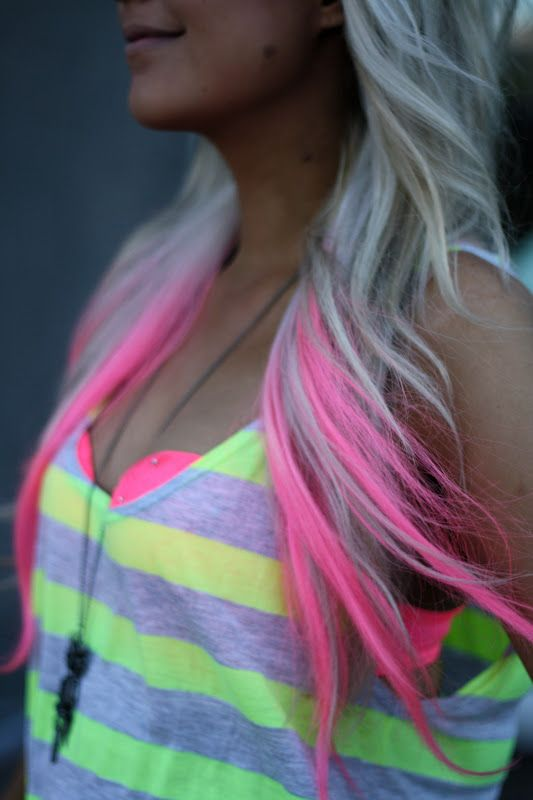 """Neon pink highlights <3 I'd want more of a baby pink but this is so pretty. I want pink highlights when I was 16, haha! Always been """"different"""""""