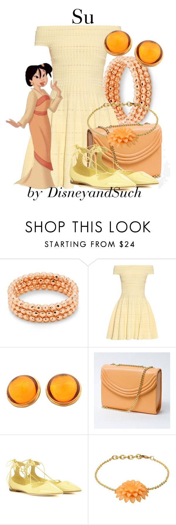 """Su"" by disneyandsuch ❤ liked on Polyvore featuring Gorjana, Alexander McQueen, Lauren Cecchi, Jimmy Choo, George J. Love, disney, disneybound, mulan and WhereIsMySuperSuit"